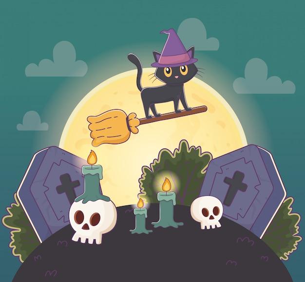 Gatto volante con la scopa in cimitero halloween