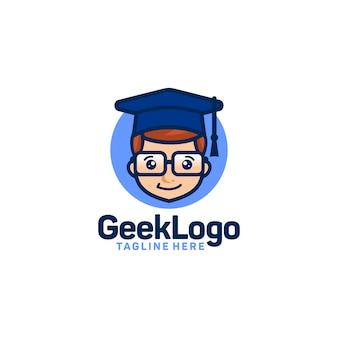 Geek logo design template vettoriale