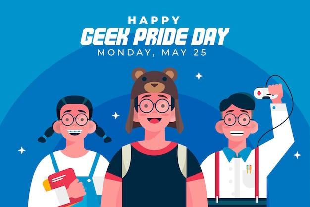 Geek pride day ragazza e ragazzo