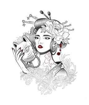 Geisha con una maschera da demone in mano