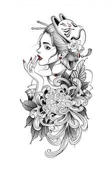 Geisha giapponese in fiori con maschera di volpe