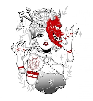 Geisha giapponese in una maschera di demone spaventoso
