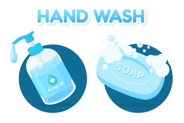 Gel alcolico vettoriale e barra di sapone per lavare le mani dallo sporco e dal virus della corona