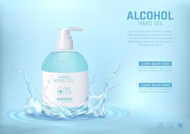 Gel detergente per mani con alcool e spruzzi d'acqua