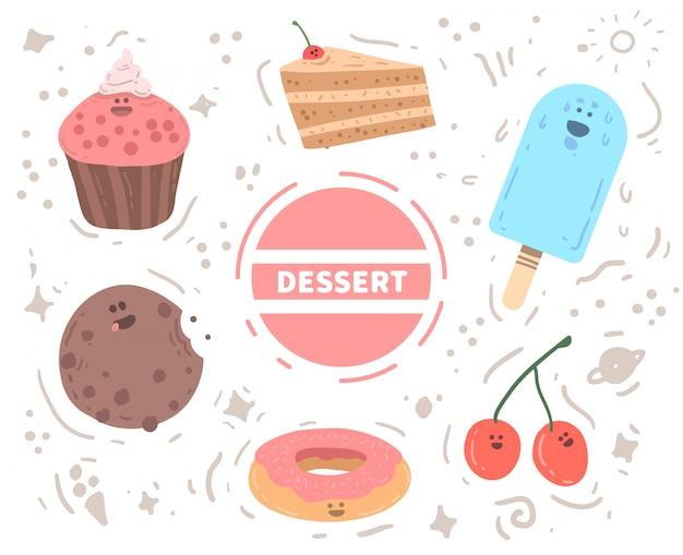 Gelati disegnati a mano, biscotti, ciliegie, ciambella e frittelle. illustrazione vettoriale di dessert