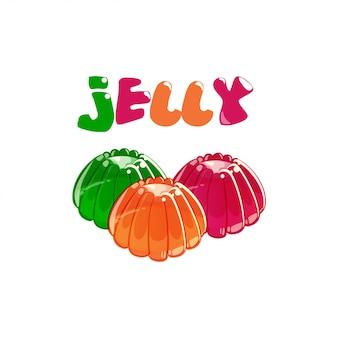 Gelatina colorata con testo gelatina isolato su sfondo bianco.