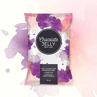 Gelatina di cioccolato confezione colorata