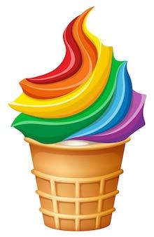 Gelato arcobaleno in cono