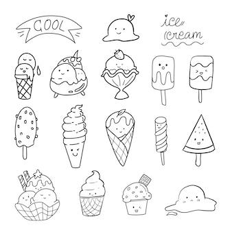 Gelato carino doodle set collezione kawaii