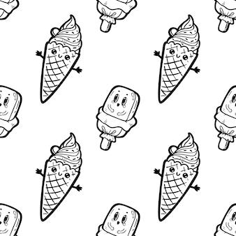Gelato di personaggi dei cartoni animati di doodle di stile kawaii, modello senza cuciture divertente. emoticon icona faccia. illustrazione disegnata a mano dell'inchiostro nero isolata su fondo bianco.