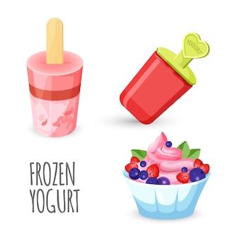 Gelato di yogurt su legno
