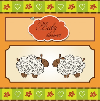Gemelli del bambino carino doccia carta con le pecore