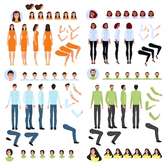 Generatore della persona, insieme delle parti del corpo per creare personaggio dei cartoni animati, illustrazione