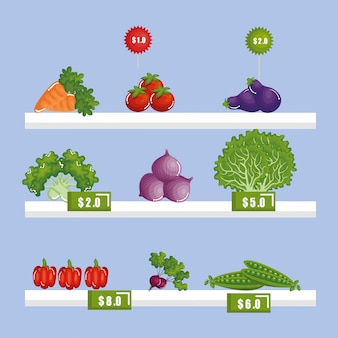 Generi alimentari del supermercato a scaffale