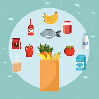 Generi alimentari supermercato impostare icone