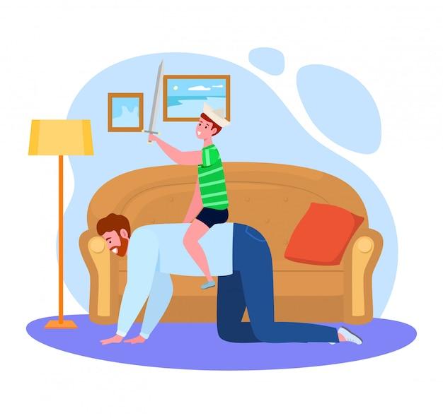 Generi il tempo con l'illustrazione del figlio, carattere del papà del fumetto che gioca il gioco di divertimento insieme al ragazzo del bambino, famiglia felice su bianco