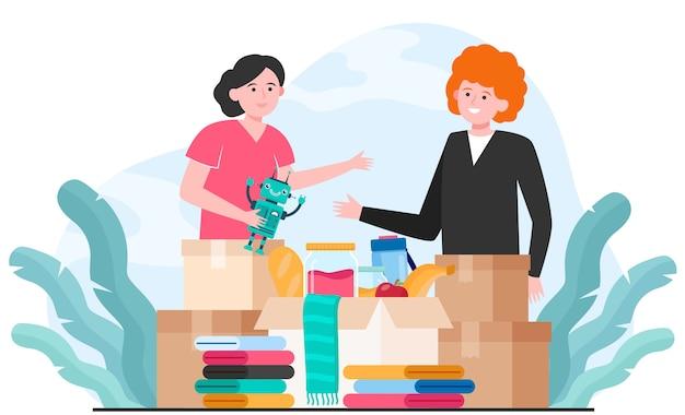 Generosi volontari che donano vestiti, giocattoli e cibo