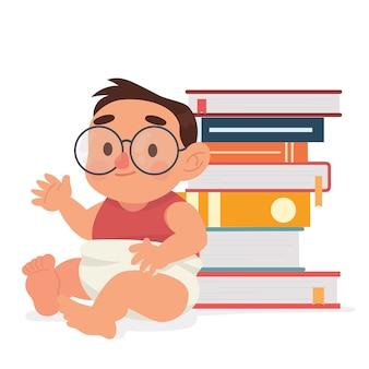 Genio carino bambino in occhiali e libro