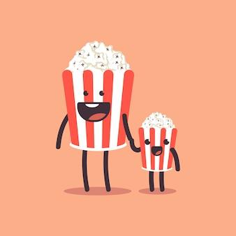Genitore sveglio del popcorn con il personaggio dei cartoni animati del bambino isolato su fondo.