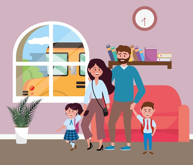 Genitori con bambini che vanno a scuola