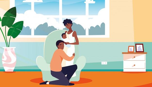 Genitori con neonato all'interno della casa
