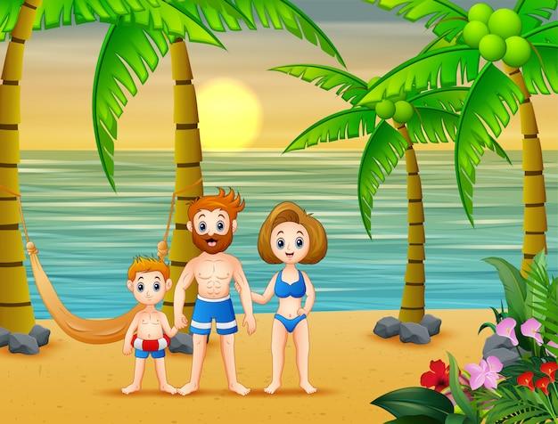 Genitori del fumetto con bambino divertirsi in vacanza