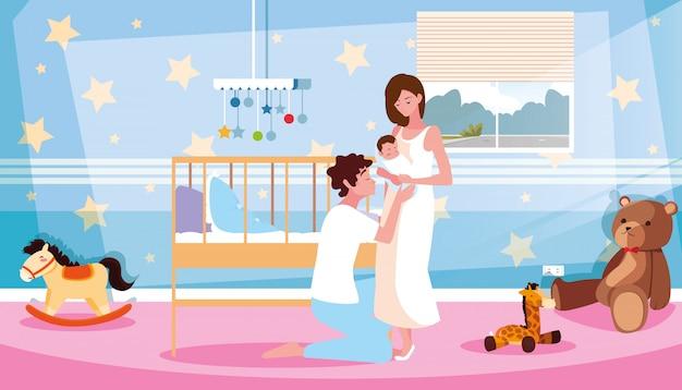 Genitori del neonato in personaggio avatar in camera