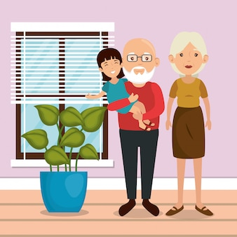 Genitori di famiglia in scena luogo casa