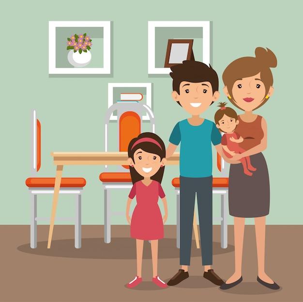 Genitori di famiglia in scena sala da pranzo