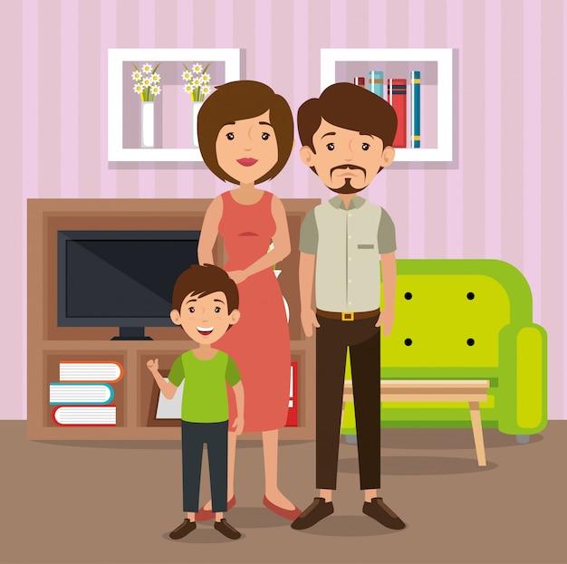 Genitori di famiglia nella scena del salotto