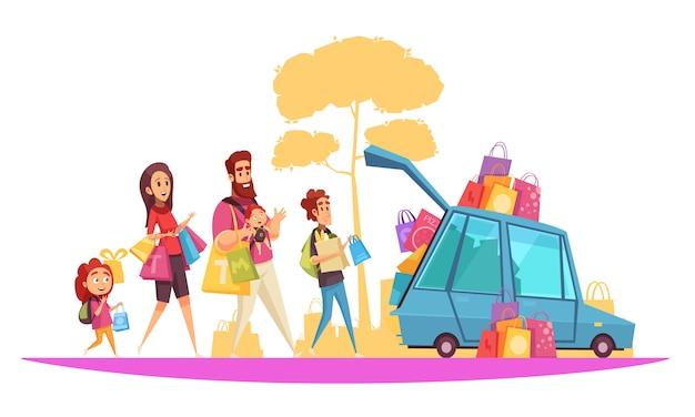 Genitori e bambini di vacanze attive della famiglia durante il caricamento dell'automobile dal fumetto degli acquisti