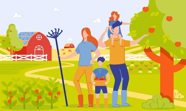 Genitori e bambini raccolto in fattoria, cartone animato.