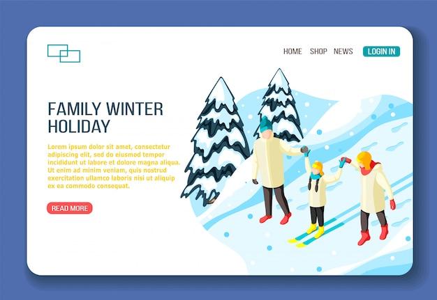 Genitori e bambino della famiglia sullo sci durante la camminata nella pagina di destinazione di web isometrico di vacanze invernali