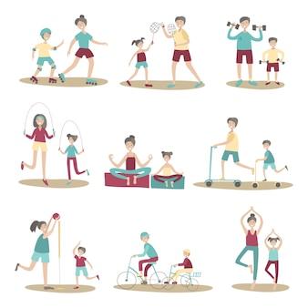Genitori e figli insieme praticano sport e attività ricreative all'aperto. set di illustrazione, isolato su sfondo bianco.
