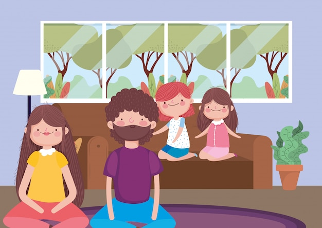 Genitori e ragazze nel soggiorno felice festa del ringraziamento