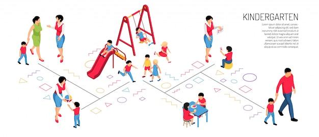 Genitori educatore e bambini in varie attività nell'asilo sull'orizzontale isometrico bianco