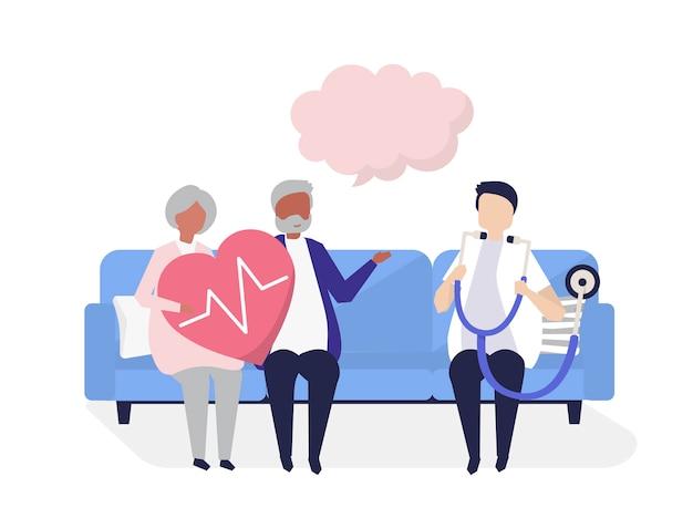 Gente anziana che ottiene un controllo in un ospedale