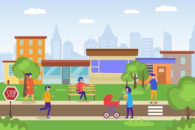 Gente casuale che cammina nel paesaggio urbano di verde di eco, madre con carrozzina, giovane che pareggia, illustrazione del fumetto della donna.