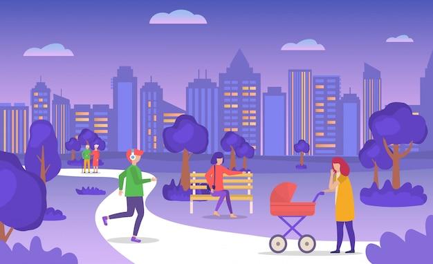 Gente casuale che cammina nel parco della città di estate di sera, coppia di eldery, madre con carrozzina, illustrazione pareggiante del fumetto del giovane.