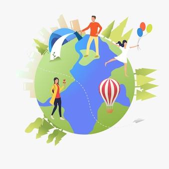 Gente che cammina, che innaffia le piante e si accampa sul globo terrestre