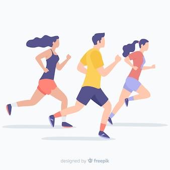 Gente che corre a una maratona