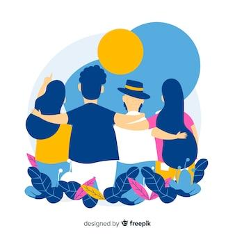 Gente comune piatta che abbraccia insieme
