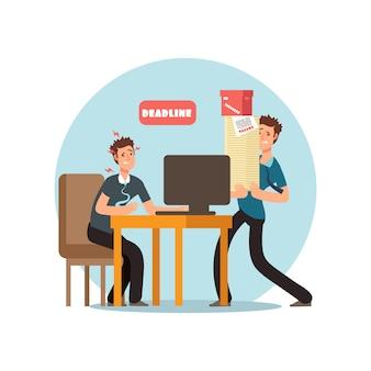 Gente dell'ufficio sollecitata per termine e concetto di gestione di tempo