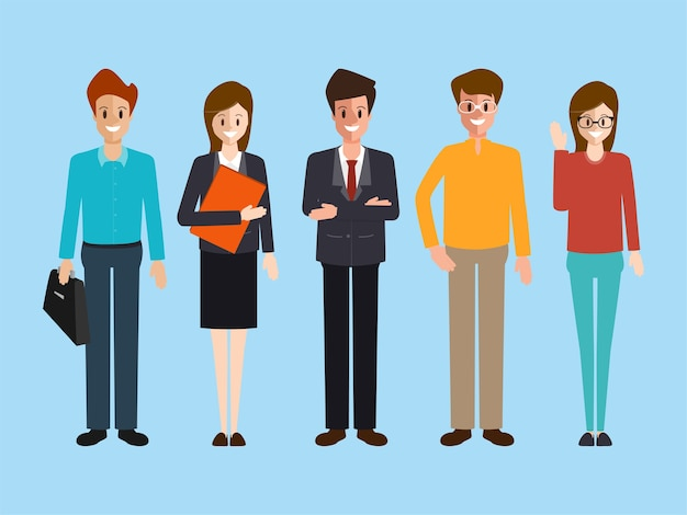 Gente di affari carattere lavoro di squadra aziendale.