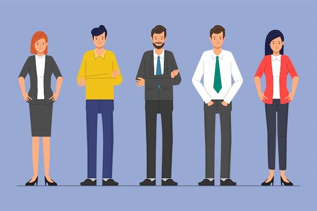 Gente di affari carattere lavoro di squadra in piedi aziendale.