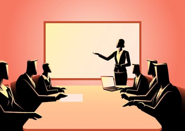 Gente di affari che ha una riunione