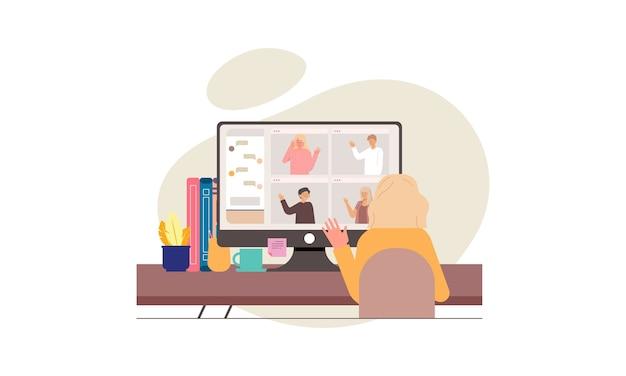 Gente di affari che ha videoconferenza con i colleghi durante il soggiorno a casa illustrazione