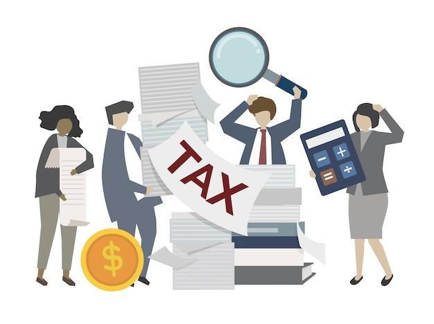 Gente di affari che lavora all'illustrazione di imposta