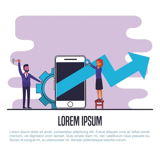 Gente di affari che lavora alla progettazione grafica dell'illustrazione di vettore dello smartphone di vendita digitale