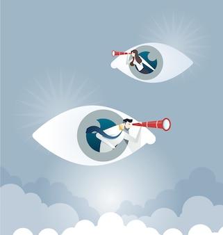 Gente di affari che per mezzo del telescopio sul segno dell'occhio